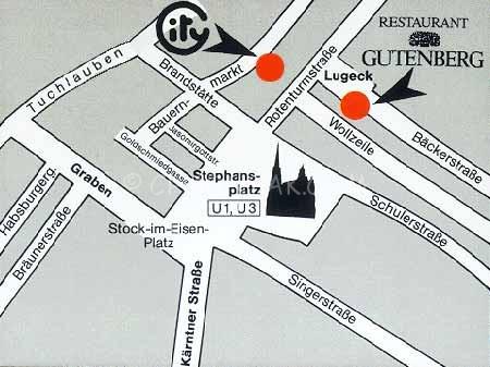 แผนที่ร้าน Cafe-Restaurant Gutenberg ใกล้ๆ Stephansplatz